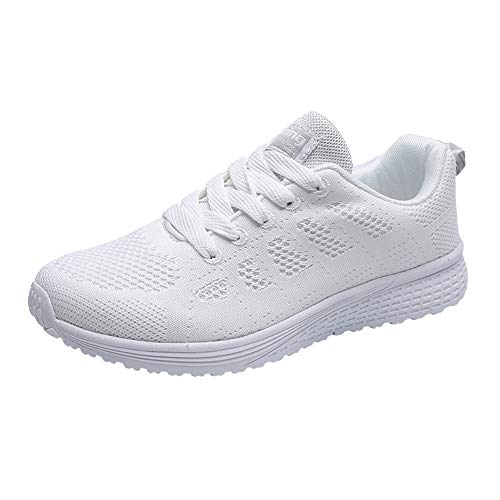 AIni Herren Schuhe Beiläufiges 2019 Neuer Heißer Mode Runde Mesh Kreuzgurte Flache Turnschuhe Laufschuhe Freizeitschuhe Freizeitschuhe Partyschuhe (42,Weiß)
