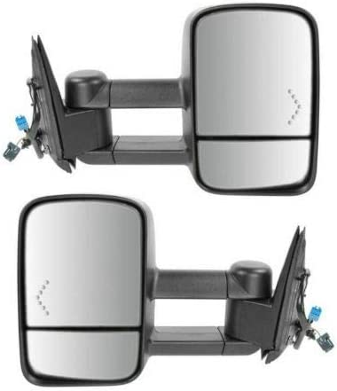 Tow Mirror Power Heated Red Recommended BLK ForTruck Chevron Cheap SALE Start Signal Pair