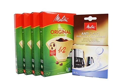 Melitta Lot de 4 paquets de papier filtrant 1 x 2 40 filtres au total 160 filtres + Melitta Machine à café et bouilloire 4 x 12 g