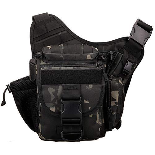 Multi-functional Tactical Camera Messenger Bag Fishing Tackle Bag Military Shoulder Bag Backpack EDC Sling Pack for Hiking Camping Trekking Cycling (Black camouflage)