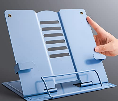 yonghe 2021 Soporte portátil de metal ajustable para libros, estante para documentos, soporte para tableta, marco de música, soporte de lectura (color azul