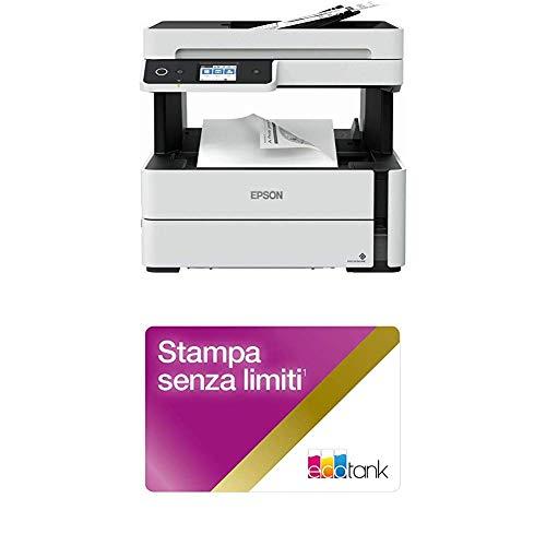 Epson ET-M3140 EcoTank 4-in-1, Stampa, Scansione, Copia e Fax, Stampante Monocromatica con Unlimited Printing Card