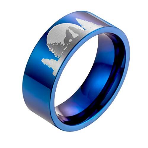 Holibanna Anel de aço de titânio com lobo solitário gravado no luar personalidade anel de dedo punk joia presente para ano novo unissex (tamanho 36)