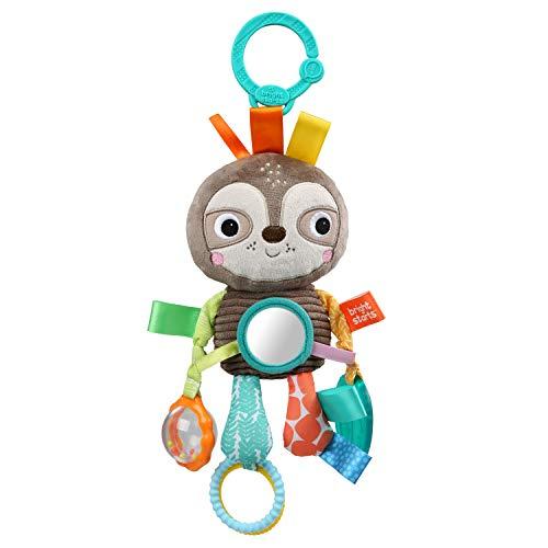 Bright Starts, Playful Pals, Spielzeug für den Kinderwagen, Faultier - mit Rassel, Spiegel und Taggie Schlaufen