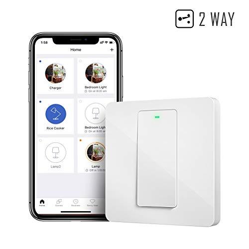Interruptor de Pared Wi-Fi 2 Vías, 1 Canal, Compatible con...