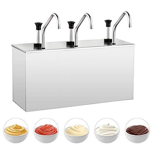 YUCHENGTECH - Dispensador de salsa de acero inoxidable para condimentos, dispensador de condimentos para ketchup/mostaza/jarabes/l¨ªquidos 3,5 L (tres cabezas)