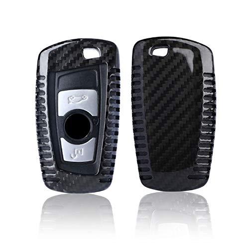Kwak's Couverture de clé de Voiture Compatible pour BMW 1 série 2 série 3 série 4 série 5 série 6 série X3 X4 clé de Voiture Étui pour clé en Fibre de Carbone,Noir