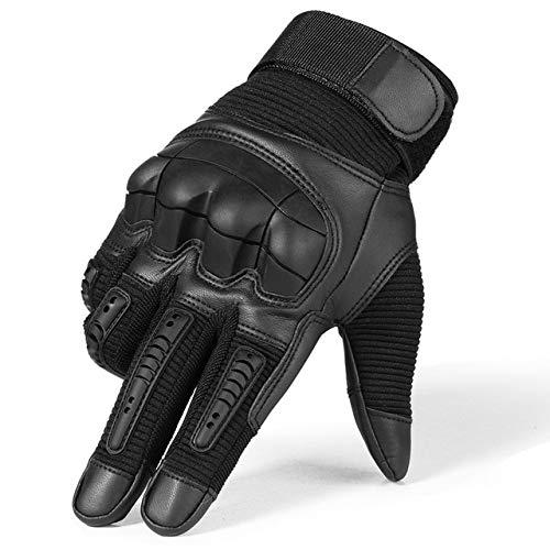 Dgtyui Pantalla táctil de Cuero de la PU Guantes de Moto Moto Motocross Moto Ciclismo Nudillo Duro Equipo de protección Guante de Dedo Completo Hombres - Dedo Completo Negro X XL X Estados Unidos