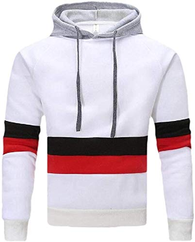 Mens Casual Stripe Color Block Patchwork Warm Hooded Pullover Long Sleeve Shirt Sweatshirt,White,X-Small