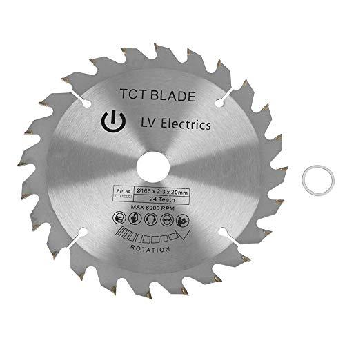 Hoja de sierra, 165 mm, 24 dientes, diámetro de orificio de carburo cementado, hoja de sierra circular de 20 mm para cortar madera