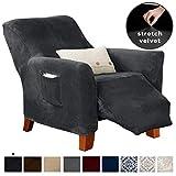 Great Bay Home Velvet Plush Stretch Recliner Slipcover. Velvet Recliner Furniture Protector, Soft Anti-Slip, High Stretch (Recliner, Dark Grey)