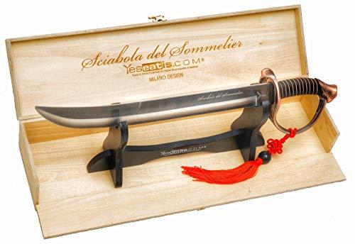 YesEatIs - Champagnersäbel für Sommelier mit Holzvitrine - bronzefarbener Griff - 2 Zierbänder inklusive