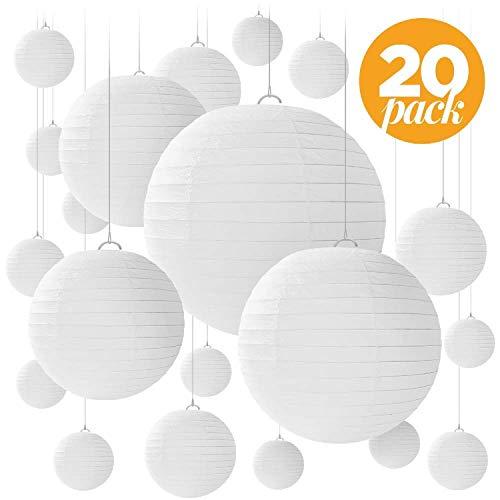 Jangostor 20 PCS weiße Papier Laterne Lampions runde Lampenschirm Papierlaterne, Bunte Papierlaterne für Hochzeiten, Geburtstage - Verschiedene Größen von 15, 20, 25, 30 cm (Weiß)