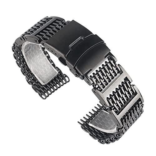 Correas de reloj, pulseras de reloj Cierre plegable de malla de acero inoxidable negro con correa de reloj de seguridad 20 mm 22 mm 24 mm Pulsera Hombres Mujeres, Reemplazo de correa de reloj (An