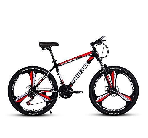 DGAGD Bicicleta de montaña de 24 Pulgadas Bicicleta de Velocidad Variable Bicicleta Adulta Ligera de Tres Ruedas A-Rojo Negro_30 velocidades