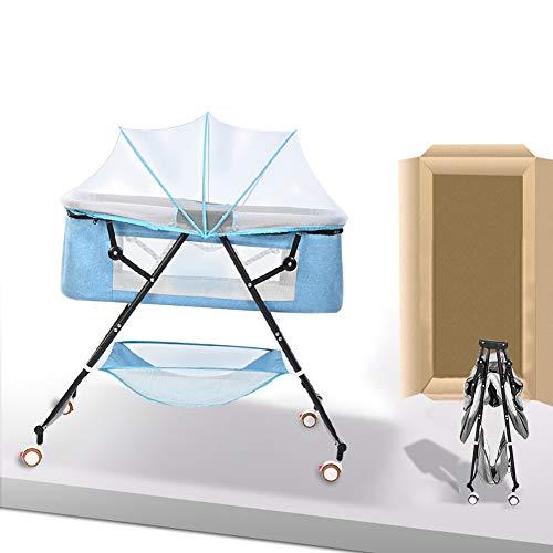【ZOOBLY】ベビーベッド おりたたみ キャスター付き ベビーベッド 収納 携帯便利 ベビーベッド 折り畳み 蚊帳付き ミニベビーベッド クッション付き ベビーベッド ポータブル 安全性