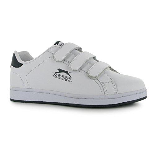 Slazenger Herren Ash Vel Sneaker mit Klettverschluss, leger, - weiß/marineblau - Größe: 46 EU