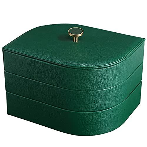 J.Mmiyi Caja de Joyas y Organizador de Cuero, Joyero Apilable para Almacenamiento De Anillos, Aretes, Cadenas, Relojes, Pulseras Organizador De Joyas Soporte,Verde