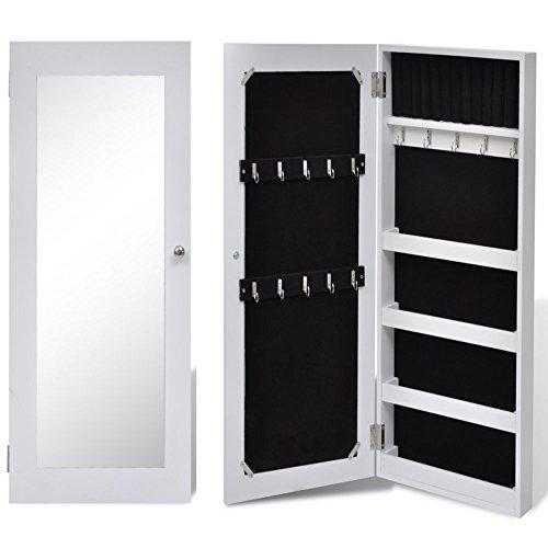 yorten Armario Joyero de Pared con Espejo de Madera Armario Pared 5 Compartimentos Diseño Sencillo 30 x 8 x 60,5 cm