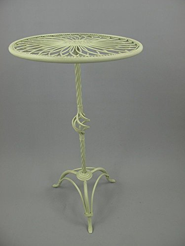 linoows Bistro Tisch, Beistelltisch, Gartentisch, Nostalgie Blumentisch Eisen Weiß