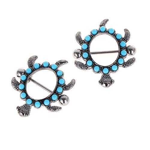 niumanery 2pcs Nipple Piercing Women Lady Stainless Steel Turtle Bars Shield Body Jewelry