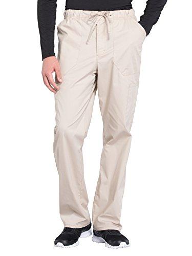 CHEROKEE WW Professionals Men's Tapered Leg Drawstring Cargo Scrub Pant, WW190, S, Khaki