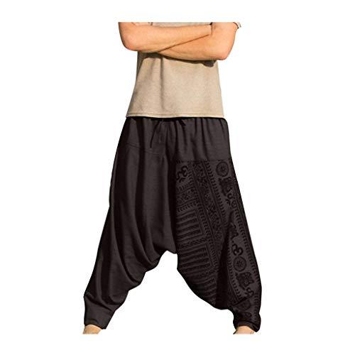 MINIKIMI Haremshose Herren Yoga Hose Und Hippie Hose MäNner Bequeme Lose Pumphose Aladinhose Pluderhose Yoga Hosen Jogginghose Pants Sporthosen (L, Grau)