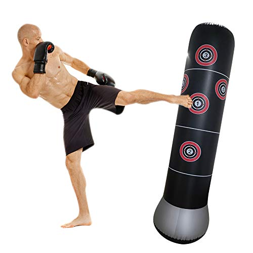 SUNNYDO Stand Puching Air Bag Boxing Target Bag Punching Power Speed Bag Reflex Include Air Pump for Adults Kids-Improve Hand Eye Coordination, Punching Speed, Fight Reaction,Fitness ,Angry Therpy