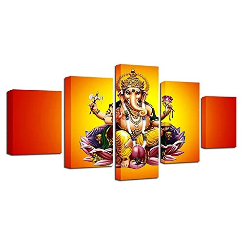 VYQDTNR - 5 Panel Large Canvas Prints Wall Art India God Ganesha Picture Poster Modern Wall Decor Home Decorations Stretched and Framed Canvas Gallery Wrapped Print Ready to Hang