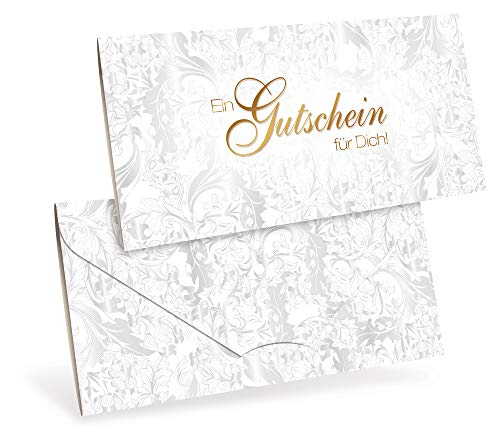 Gutscheine (10 Stück) für Ihre Kunden - Geschenkgutscheine für Weihnachten, Einzelhandel, Juwelier - DIN lang Faltkarte verschließbar