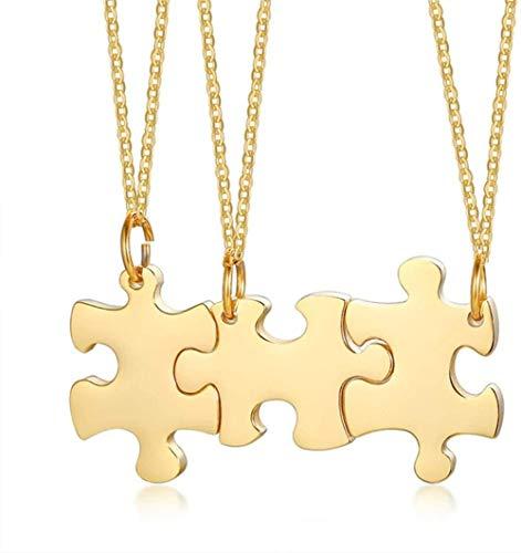 Buena suerte amistad BFF pareja collares para mujeres hombres personalizar nombres rompecabezas collar colgante pieza conjunto joyería
