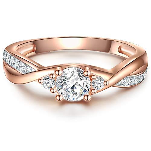 Tresor 1934 Damen-Ring Verlobungsring Sterling Silber 925 rosévergoldet mit Zirkonia in Brillant-Schliff - Wickelring in Rosegold-Farben Ehering in Solitär-Ring Look