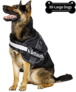 gulilulu XL-XXL Dog Harness No-Pull Adjustable Outdoor Pet Vest with Handle, Reflective Patches, Breathable Massage Cushion for Dogs