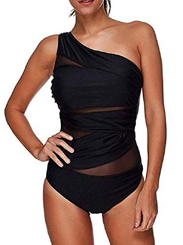 Costume Intero Donna - Monospalla - Monokini - Trasparente - da Bagno - Mare - Piscina - Ragazza - Colore Nero - Taglia XL