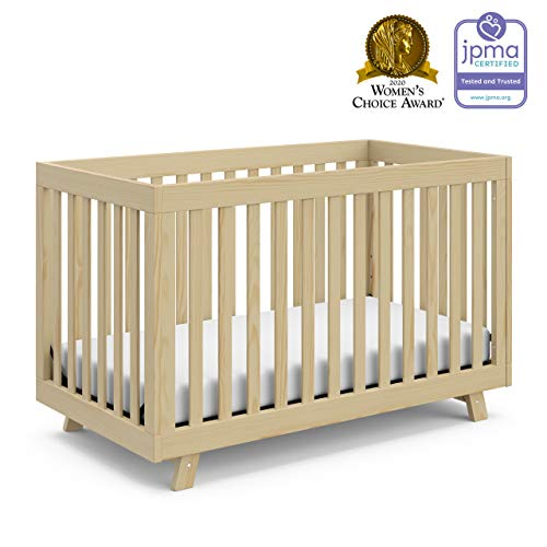 Stork Craft Storkcraft Beckett 3-in-1 Convertible Crib Fixed Side Crib, Solid Pine & Wood Product Construction, Converts to Toddler Bed Day Bed or Full Bed (Mattress Not Included), Natural