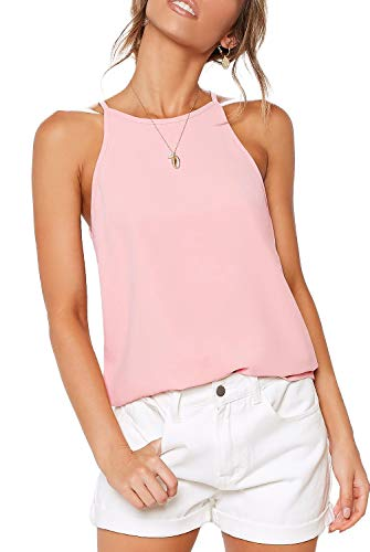 LouKeith Womens Shirts Halter Tank Tops Summer Racerback Casual Spaghetti Strap Beach Workout Tee Shirts Blouses Pink L