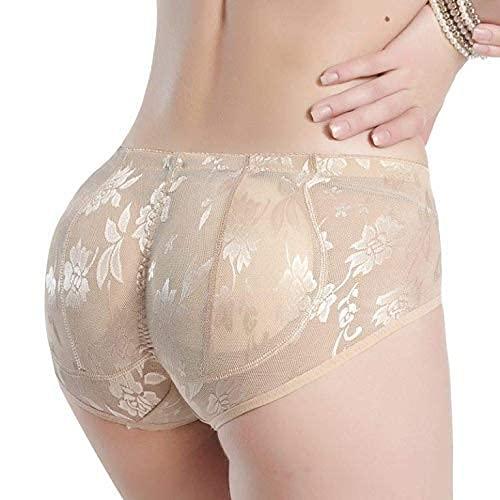 OMLAVIDA Women's Butt Lifter Low Waist Firmer Smooth Round Shape Seamless Padded Butt Hip Enhancer Shaper Panties Washable (M, Beige)
