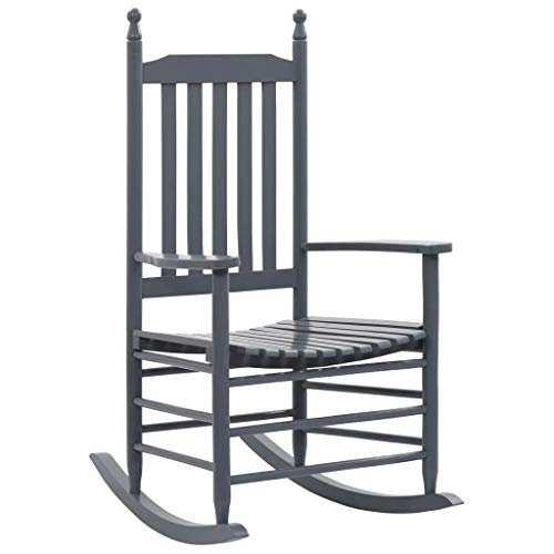 vidaXL Holz Schaukelstuhl mit gebogener Sitzfläche Gartensessel Gartenstuhl Relaxstuhl Ruhesessel Sessel Schwingstuhl Schwingsessel Holzstuhl Grau