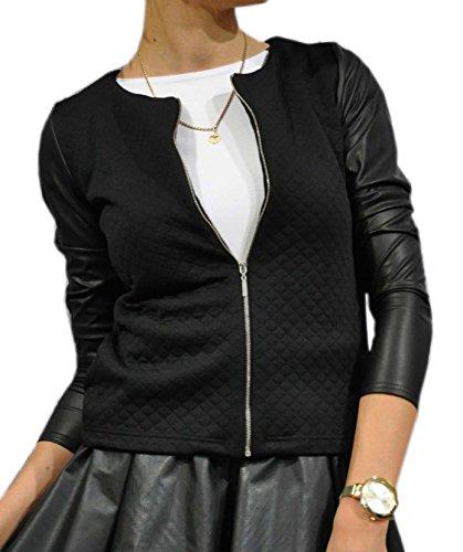 Mikos Damen Cardigan Jacke Bolero Steppjacke mit Kunstleder-Ärmel S M L XL 2XL 3XL 4XL (XXXL, Schwarz)