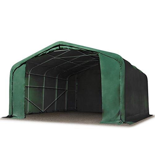 TOOLPORT Standsicheres Lagerzelt 6 x 6 m Weidezelt ca. 550 g/m² PVC Plane dunkelgrün 100% Wasserdicht Wikinger PROFIZELT24