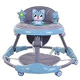 KiMiLIKE Andador de bebé con cojín para el pie, bandeja de música desmontable, altura ajustable, plegable