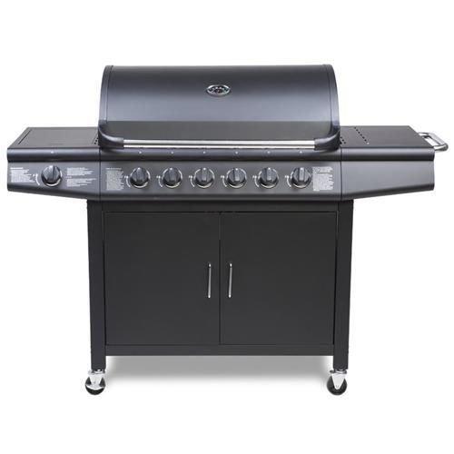 Fireplus 6+1 Gas Burn Grill BBQ Barbecue w/ Side Burner & Storage - Black