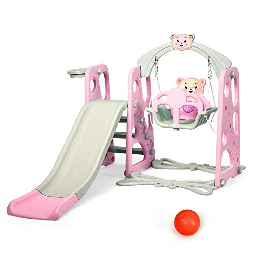 Lowest Price! Supertech Toddler Climber, 3 in 1 Toddler Climber and Swing Set Slide Playset (Pink)