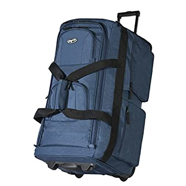 Olympia Luggage 29  8 Pocket Rolling Duffel Bag (Navy w/ Black - Exclusive Color)