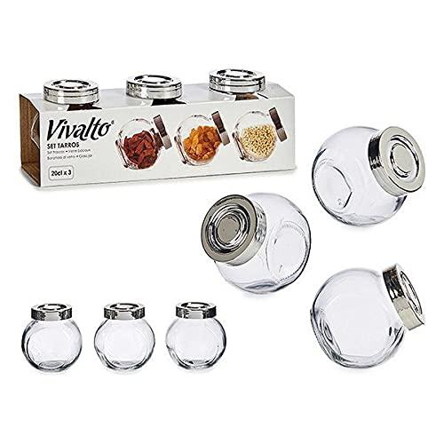 Vivalto S3606050 Set de 3 Botes Cristal con Tapa, 200 ml, Glass