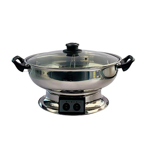 Electric Hotpot Steamboat with Divider, Glass Lid and Handles Chinese Shabu...