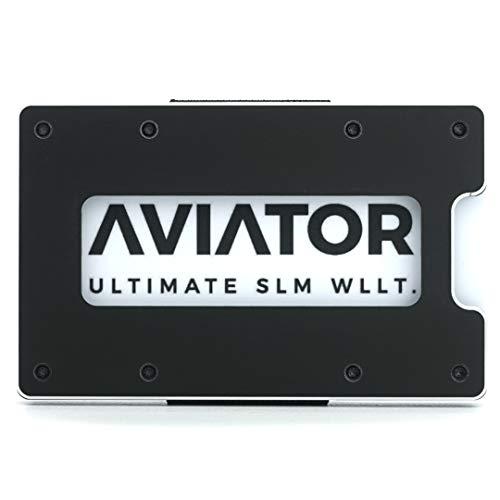 AVIATOR ULTIMATE SLM WLLT. Portafoglio sottile edizione con moneta e clip in carbonio con tasca portamonete e fermasoldi 8,5 cm x 5,4 cm Nero di ossidiana