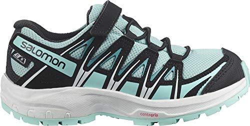 Salomon Kinder XA PRO 3D, Schuhe für Trail Running und Outdoor-Aktivitäten, ClimaSalomon Waterproof, Einfaches Schnürsystem Hellblau/Schwarz (Pastel Turquoise/Black/Tanager Turquoise), 27 EU