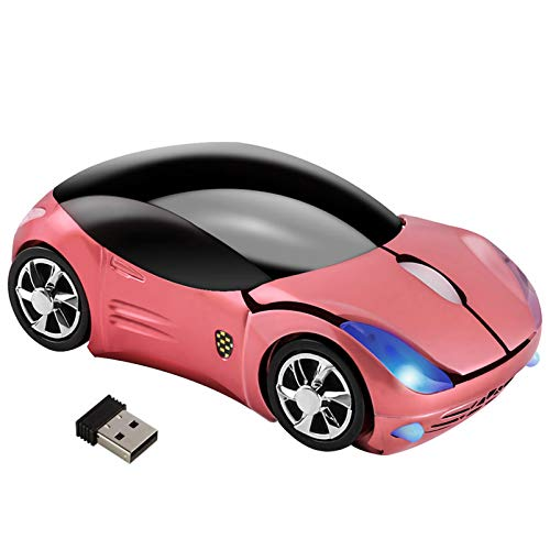 Car Mouse Wireless, 3C Light Cool 3D Sport Car Shaped Mouse Optical Mini Office Mice 1600 DPI with USB Receiver for PC/Computer/Laptop Gift for Kids (Pink)