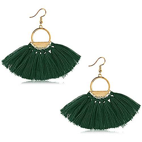 Suyi Women Tassel Earrings Bohemia Fan Shape Thread Tassel Statement Drop Dangle Earrings for Lady Dark Green